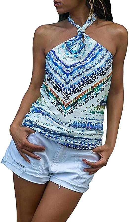 TOPKEAL Camiseta Informal sin Mangas con Cuello Halter de Tirantes Anudadas para Mujer