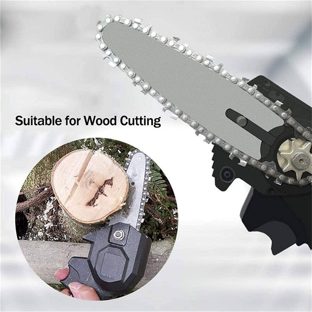 Mini 4-Inch Cordless Electric Protable Chainsaw TETEAI Handheld Cordless Chainsaw with Charger And 2 Battery Red Adjustable Cutting Speed For Wood Cutting Tree Pruning And Garden