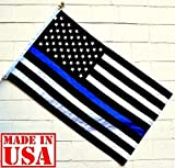US Flag Factory 3'x5' American Thin Blue Line Flag (Embroidered Stars, Sewn Stripes) for Police Officers - Outdoor SolarMax Nylon Flag - 100% Made in America -- See Photos for Authentic Flag!