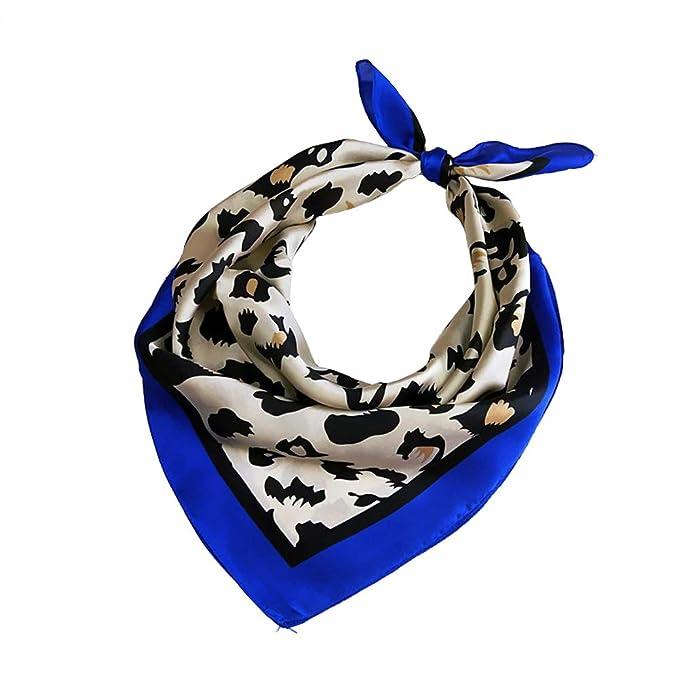 UK Bags Tie Head-Neck Tie Leopard Print Handkerchief Small Scarf Silk Feel Satin