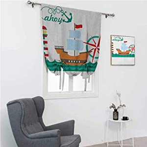 """GugeABC Roman Shades Ahoy Its a Boy Tie Up Window Shade for Home Sail Boat on Sea Waves Lighthouse and Compass Anchor Icons Celebration 48"""" Wide by 64"""" Long Teal Brown Red"""