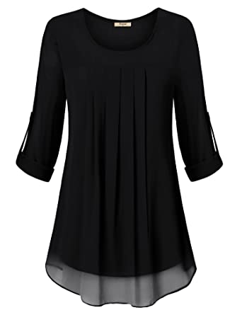 71159326 Timeson Womens Tops, Ladies Flowy Tunic Shirt Elegant Round Neck Pleated  Front Chiffon Blouses Tops