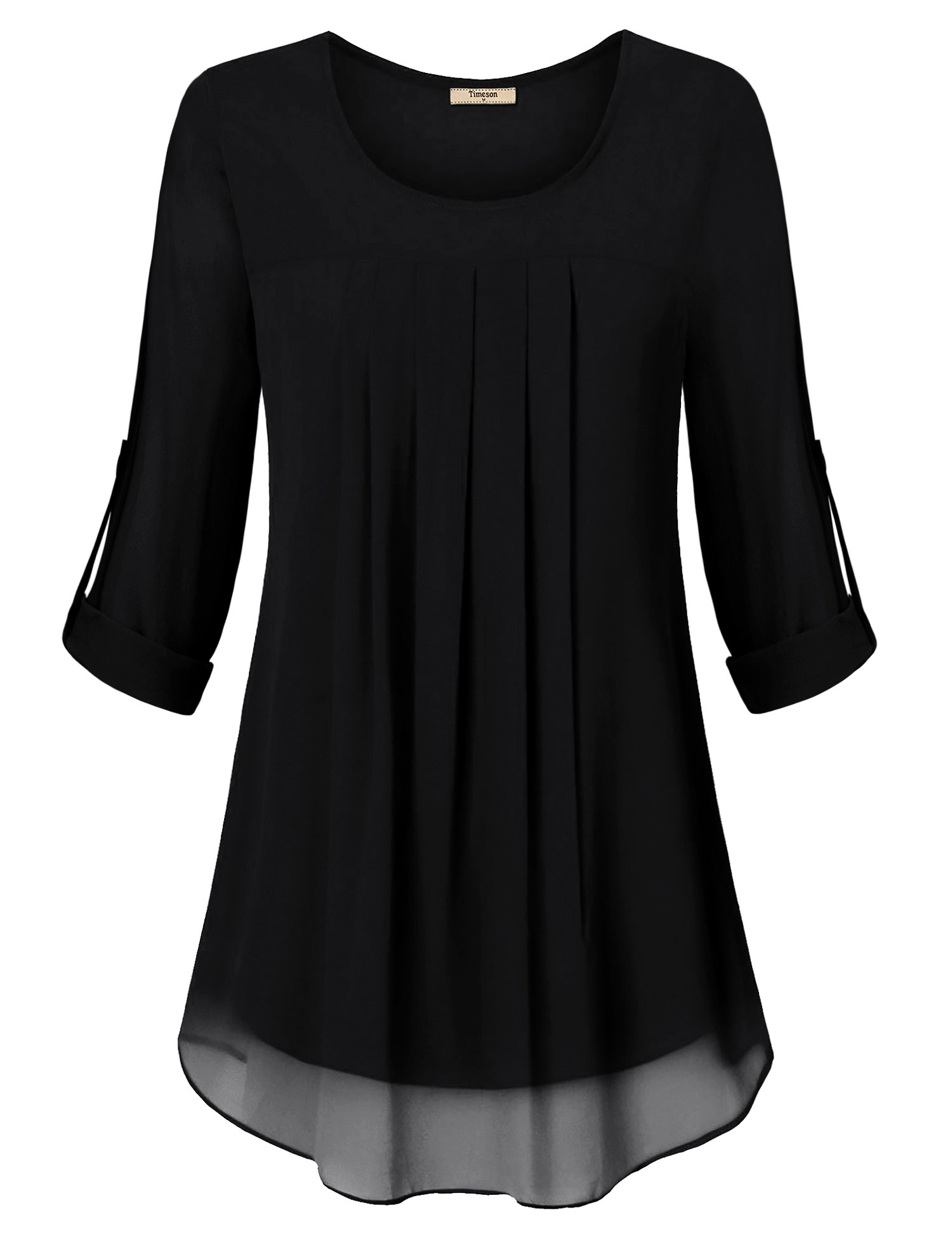 Timeson Womens Tops, Ladies Flowy Tunic Shirt Elegant Round Neck Pleated Front Chiffon Blouses Tops Stretchable Soft Lining Not See Through Swing Tunic Black Small