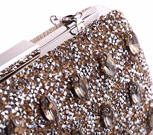 y Europeos Plateado de cena americanos mujeres XJTNLB bolso de noche banquete vestido diamante vestido bolsa Plateado de mano qT5d8xxnw
