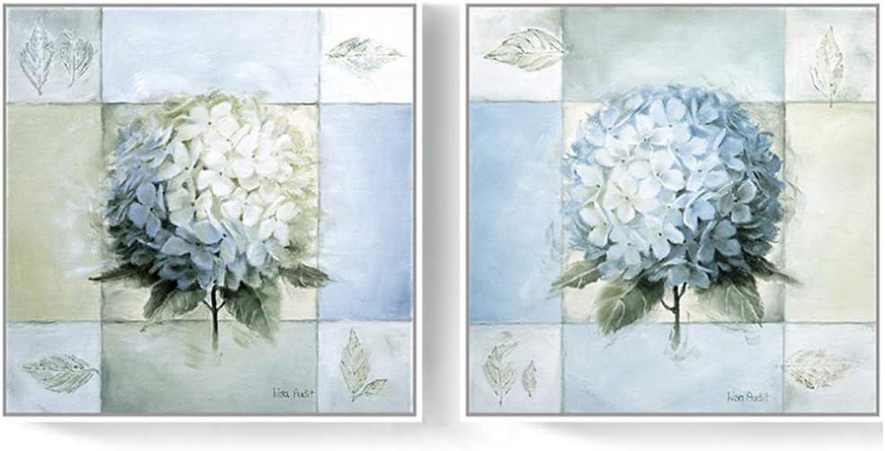 LIPENGYU Pintura de Flor de Hortensia Azul Blanco sobre Lienzo Cartel de Arte Moderno Cuadros Decorativos Decoración de Pared para el hogar 40x40 cm Sin Marco