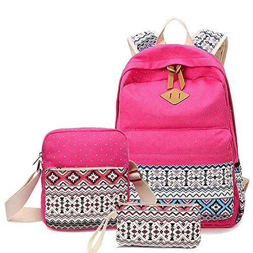 Aliceherry Canvas Printing Cute Dot Backpack School Bags for Teenage Girls Laptop Shoulder Bag 3 Pcs/set (Hot Pink)