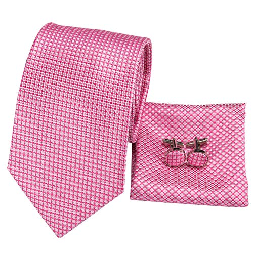- Hi-Tie Silk Neckties Plaid Check Jacquard Tie Pocket Square Cufflinks Set Gift Box (little pink plaid)