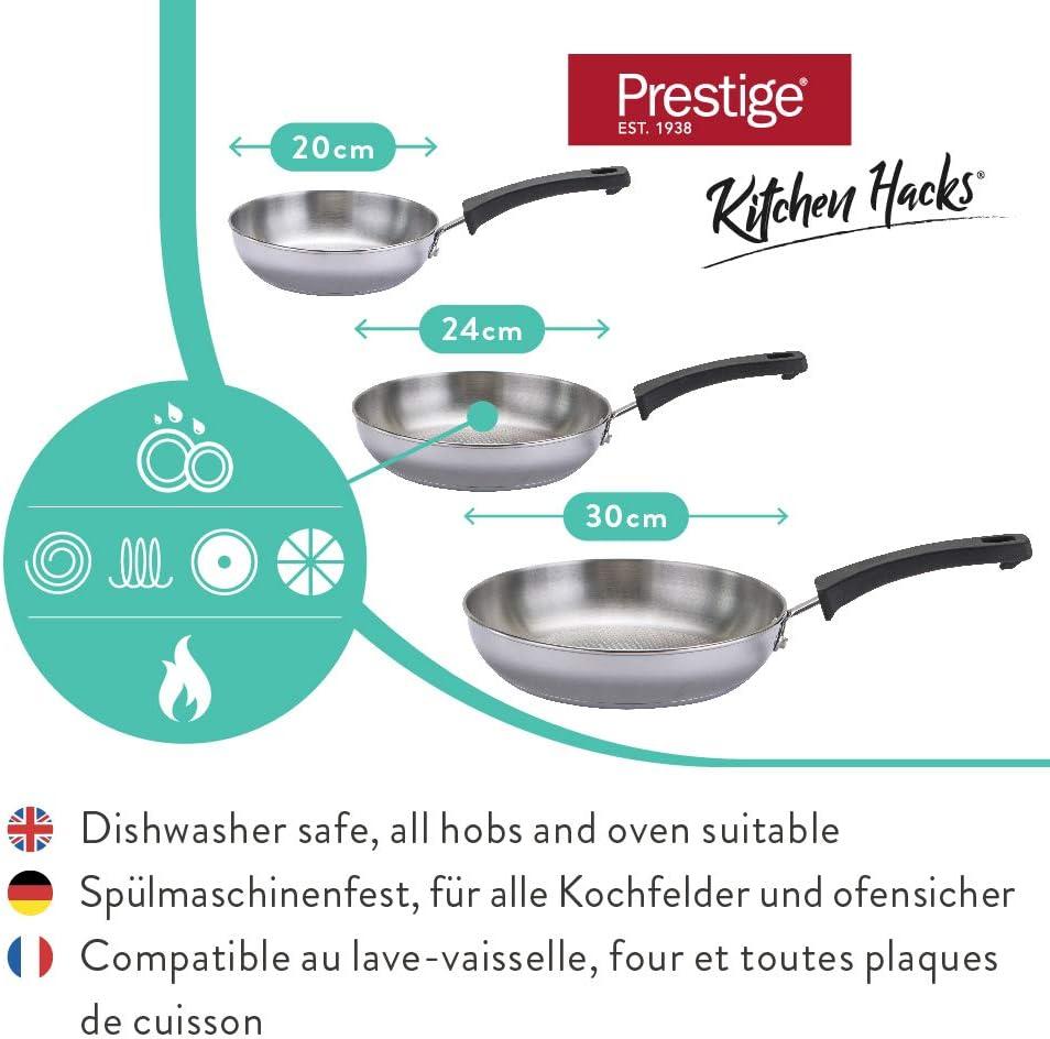 Juego de sartenes para Todo Tipo de cocinas Set de sartenes apilables Incluidas Las de inducci/ón Prestige Kitchen Hacks Juego de 3 sartenes de Acero Inoxidable