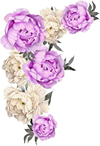 Flowers Wall Sticker Peony Rose, Outivity Waterproof PVC Wall Decals Flowers for Sofa Background Living Room Bedroom Kitchen Nursery Room Decorations (Purple, L)