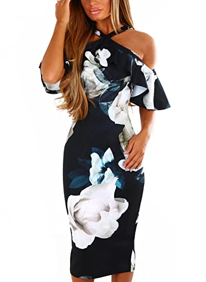 07e1109a6be AlvaQ Women Ladies Plus Size Halter Floral Print Sexy Cold Shoulder Ruffle  Sleeve Party Cocktail Eveving