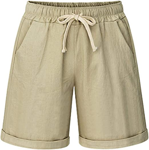 wodceeke Women High Waist Shorts Elastic Waist Casual Comfy Cotton Linen Beach Shorts with Drawstring