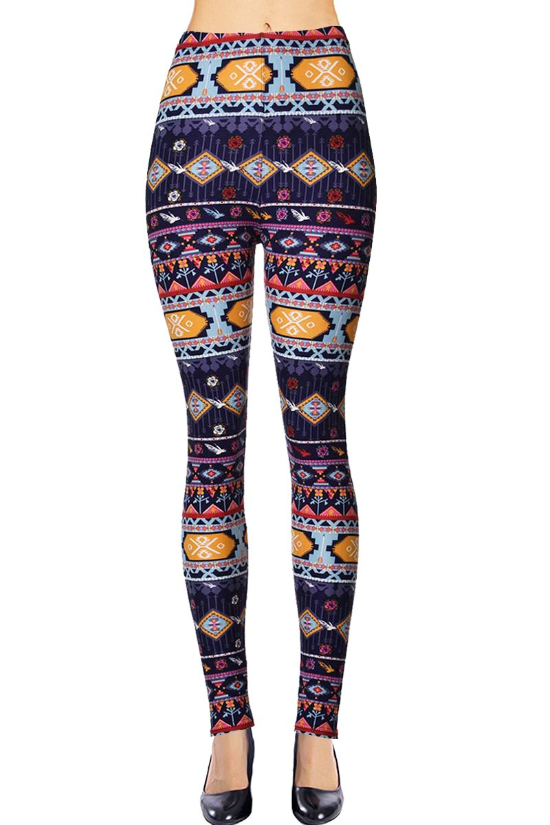 VIV Collection Regular Size Printed Brushed Leggings (Patterned String) by VIV Collection (Image #1)