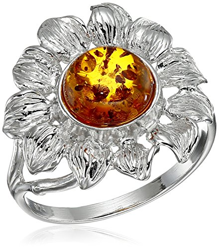 Rhodium Plated Sterling Silver Honey Amber Sunflower Ring, Size7