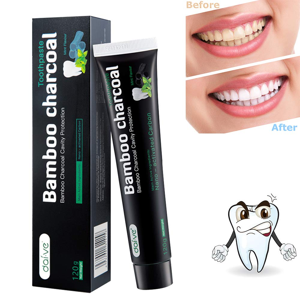 Amazon.com: Bamboo Charcoal Toothpaste Natural Activated Charcoal Teeth Whitening Oral Care Toothpaste, Vegan, Organic, Eliminates Bad Breath, ...