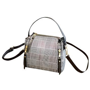 LILIHOT Frau Messenger Bag einfache Mode Eimer Tasche kariert vielseitig Umhängetasche Retro Mode Kordelzug Eimer Tasche mit Quaste Damenhandtasche