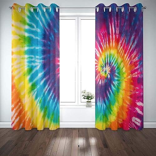 Musesh Abstract Swirl Design Tie Dye Window Blackout Curtains 2 Panels,52X63 Inch Christmas Window Curtains Casement Window Curtain