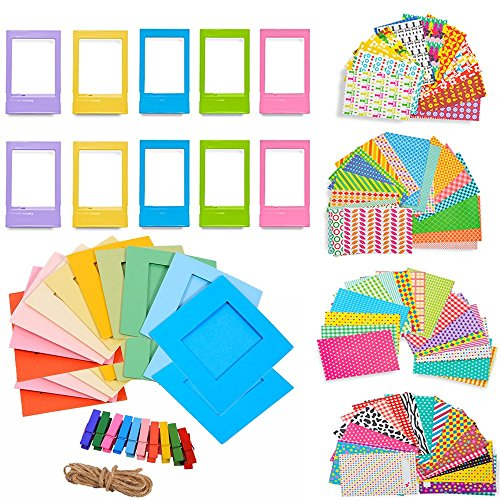 5 in 1 Colorful Bundle Kit Accessories for Fujifilm Instax Mini 9/8 Camera – Assorted Accessory Pack of Sticker Frames, Plastic Desk Frame, Hanging Clips with String