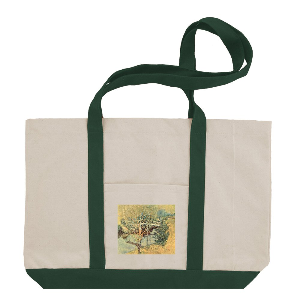 The White Bridge By Twachtman Cotton Canvas Boat Tote Bag Tote - Green