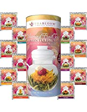 Blooming Tea – Teabloom Fruit Flowering Teas – 12 Unique Flower Varieties of Blooming Tea in 12 Delicious Fruit Flavors – Each Flowering Tea Ball Steeps Up to 3 Times – Handpicked Ingredients