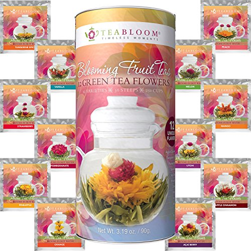 Blooming Tea - Teabloom Fruit Flowering Teas - 12 Unique Flower Varieties of Blooming Tea in 12 Delicious Fruit Flavors - Each Flowering Tea Ball Steeps Up to 3 Times - Handpicked Ingredients