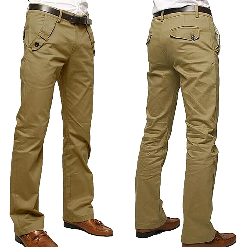 WSLCN Men's Chino Pants Cotton Casual Straight Trouser Solid Color (WITHOUT BELT) K26