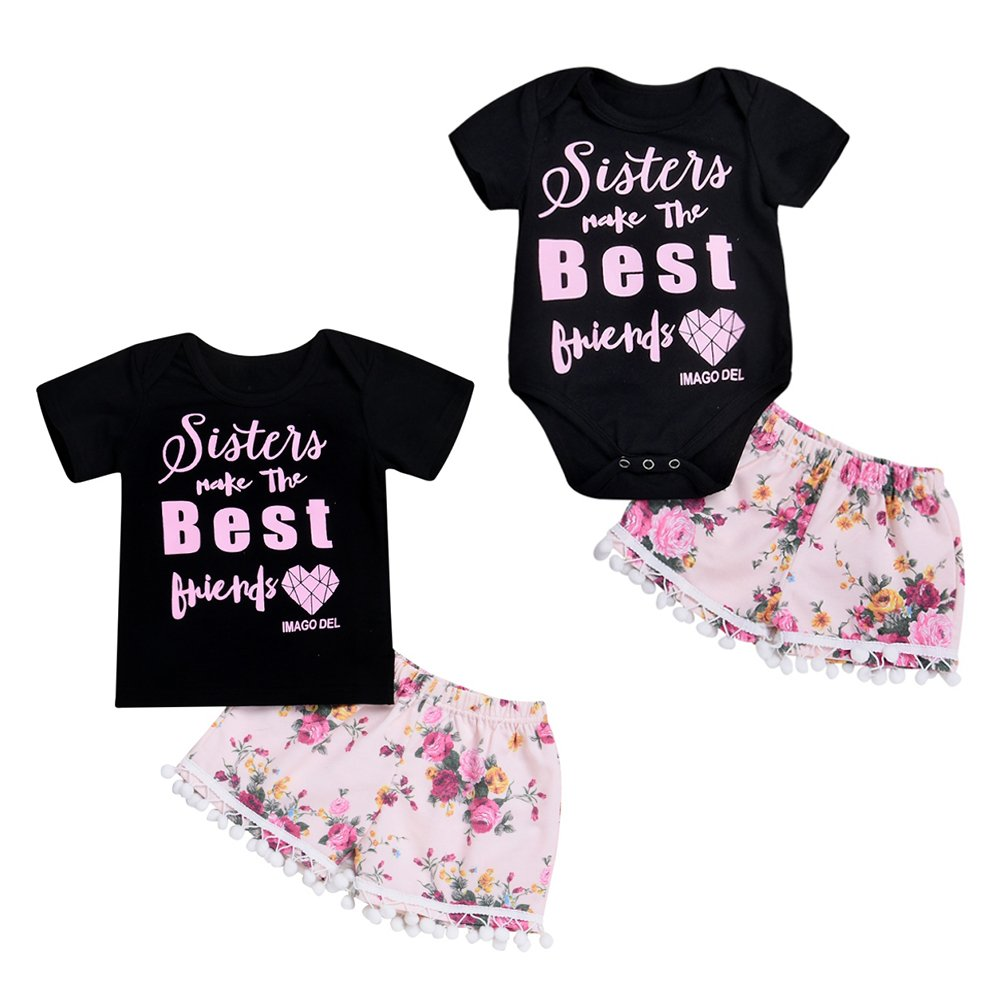 Matching Sister Clothes Set Summer Baby Girl Sister Best Friends Printed Shirt Romper Top and Foral Printed Shorts Pants Outfit