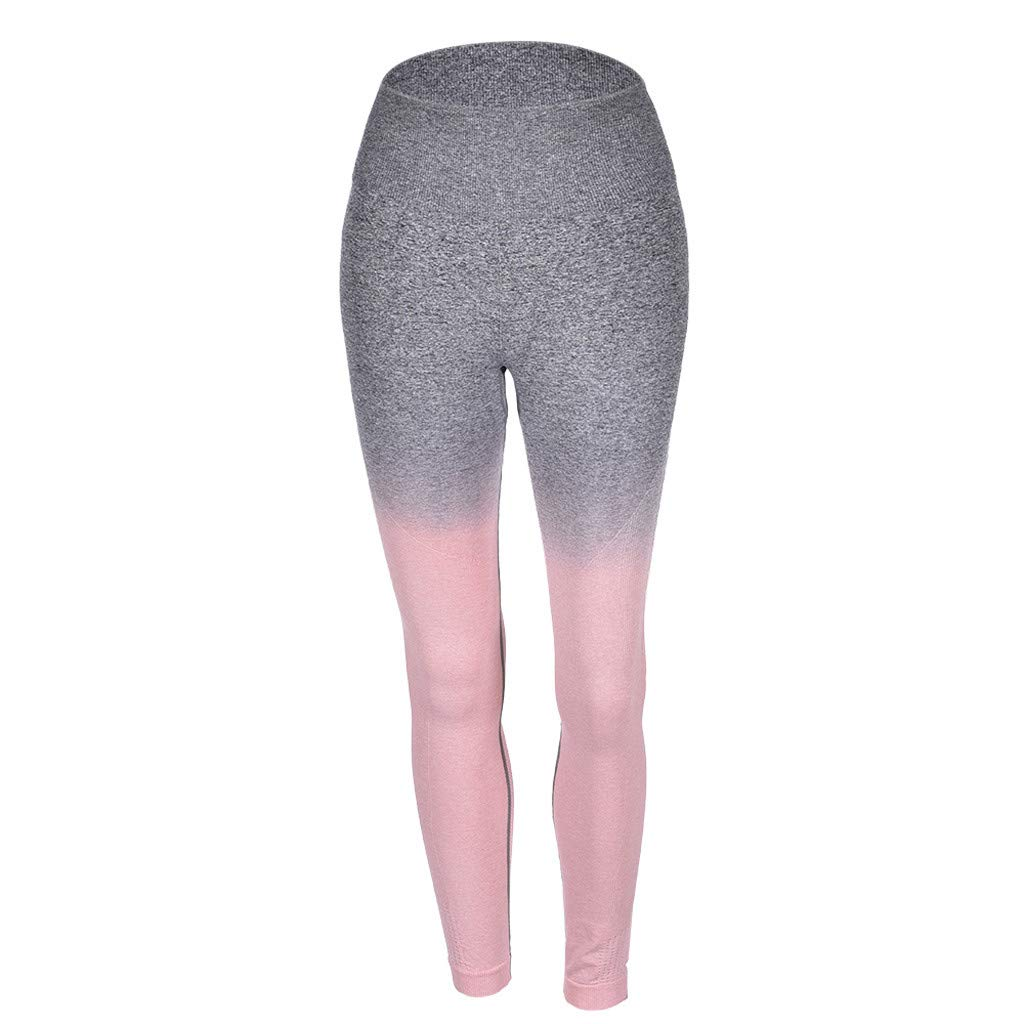 aiNMkm Spring Pants Women,Yoga Leggings Compression Slim Ombre Gym Seamless Leggings Sport Fitness Pants,Pink,XL