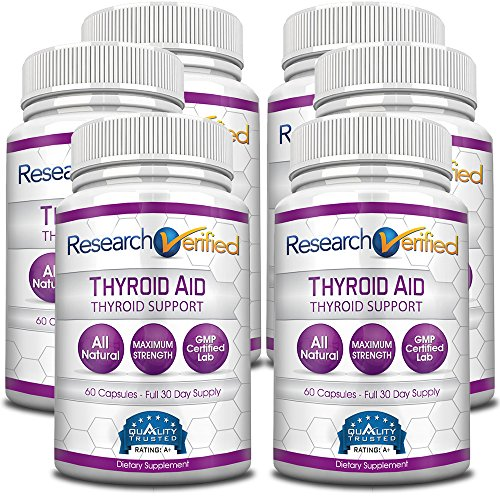 Research Verified Thyroid Aid - With Iodine, Vitamin B12, Selenium, Coleus Forskholii, Kelp, Ashwaghnada & More - 100% Pure, No Additives or Fillers - 100% Money Back Guarantee - 6 Months Supply by Research Verified