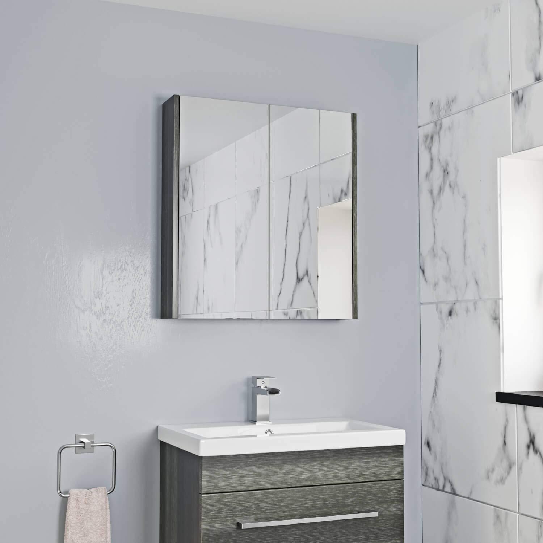 Aurora 600mm Bathroom Mirror Cabinet 2 Door Storage Cupboard Wall Hung  Modern White Home & Kitchen Bathroom umoonproductions.com