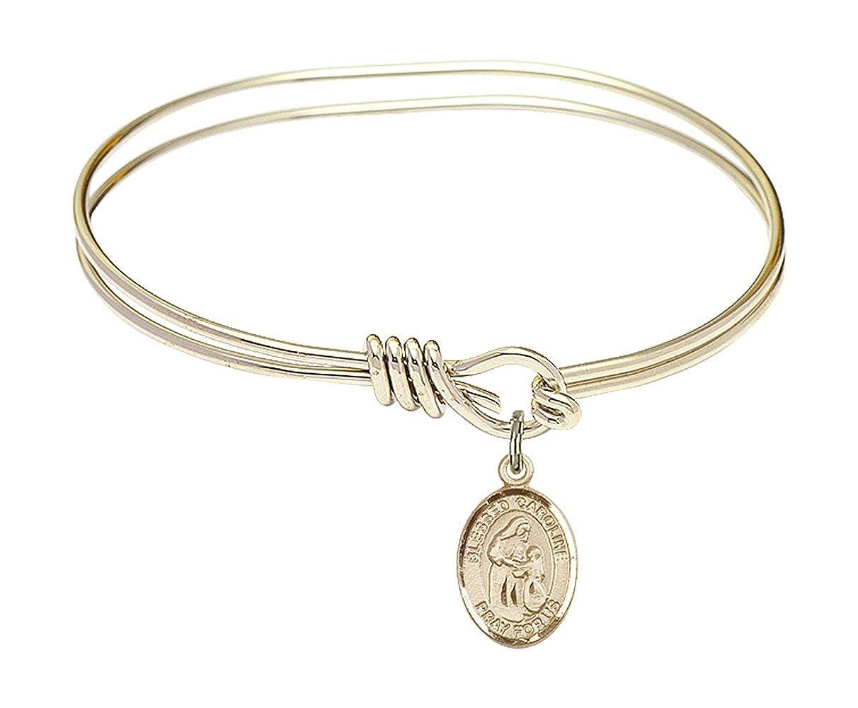 DiamondJewelryNY Eye Hook Bangle Bracelet with a Blessed Caroline Gerhardinger Charm.