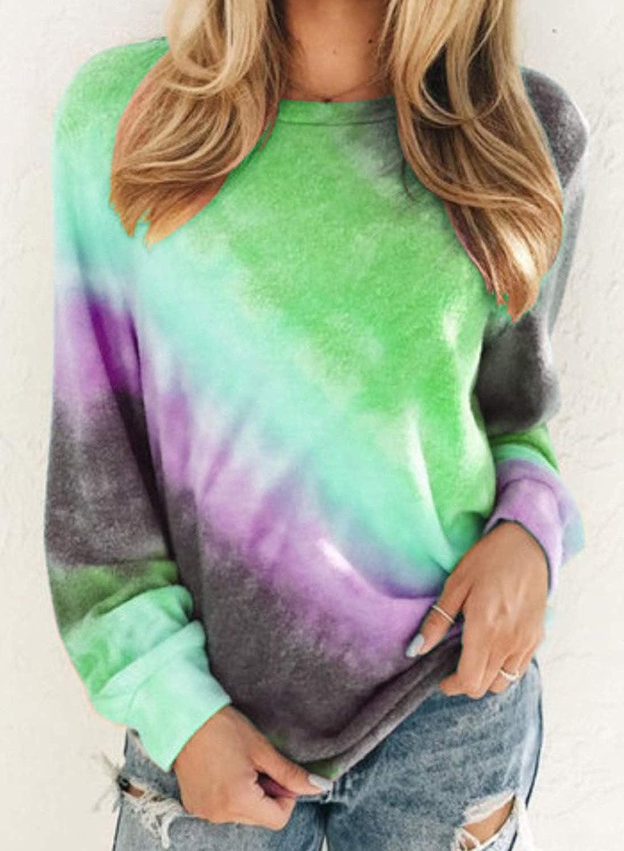 FIYOTE Women Casual Pullover Tops Tie Dye Long Sleeve Lightweight Sweatshirt Blouses AZ-Orange 2 Large