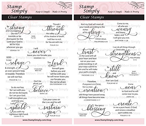 (Stamp Simply Clear Stamps Fear Not and Words of Encouragement Christian Religious (2-Pack) 4x6 Inch Sheets - 17 Pieces)