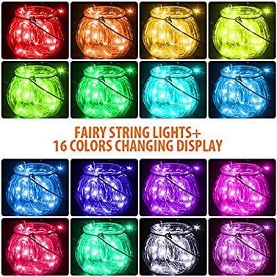 17Ft 50LEDs Fairy String Lights Battery Operated Multicolor Changing LED String Lights with Remote Timer for Indoor Bedroom Patio Wedding Party Festival Christmas Decor- 16 Colors : Garden & Outdoor