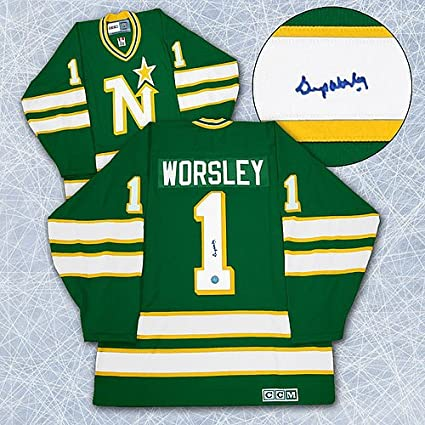 d7023e656f9 Image Unavailable. Image not available for. Color: Gump Worsley Minnesota  North Stars Autographed Hockey Jersey - Signed Hockey Jerseys