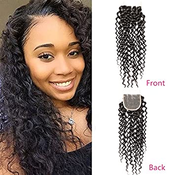 AOSOME Remy Brazilian Vigrin Hair Closure Curly Weave Human Hair Lace  Closure Bleached Knots 10  bf391d728181