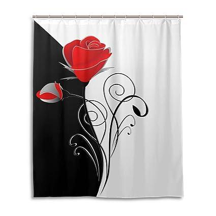 Amazon U LIFE Vintage Floral Red Flowers Rose Black White