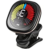 Guitar Tuner Rechargeable Clip On LED Color Display Tuner for All Instruments - Guitar, Violin, Ukulele & Chromatic Tuning Mo