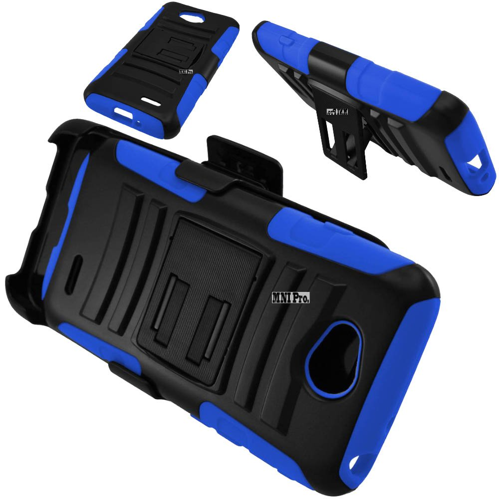 LG LG Realm / Pulse LS620 / Optimus Exceed 2 / Optimus L70 Accessories 3-items Bundle-HERCULES Dual- Layer Hard/Gel Hybrid Kickstand Armor Case w/ Holster (Black/Blue)+ICE-CLEAR(TM) Screen Protector Shield(Ultra Clear)+Touch