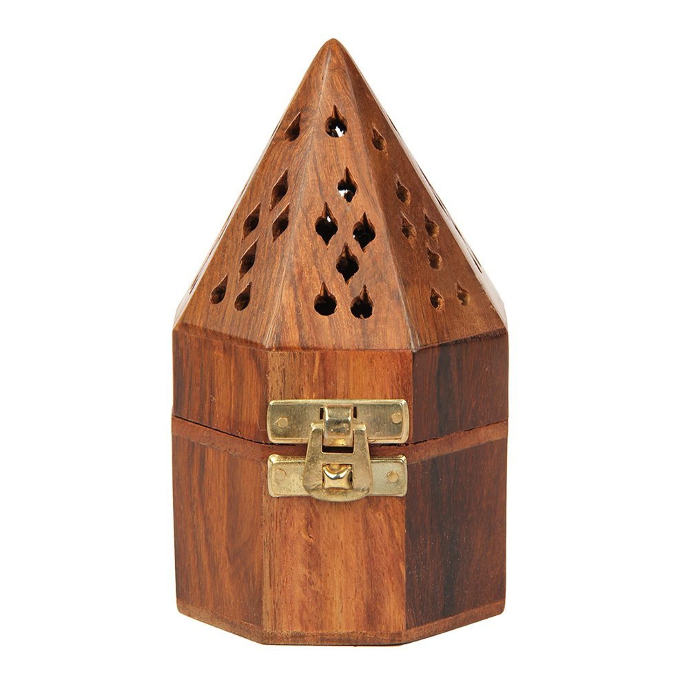 Aheli Wooden Classic Temple Style Dhoop Incense Burner Holder with Base Square and Top Cone Shape Dhoop Holder