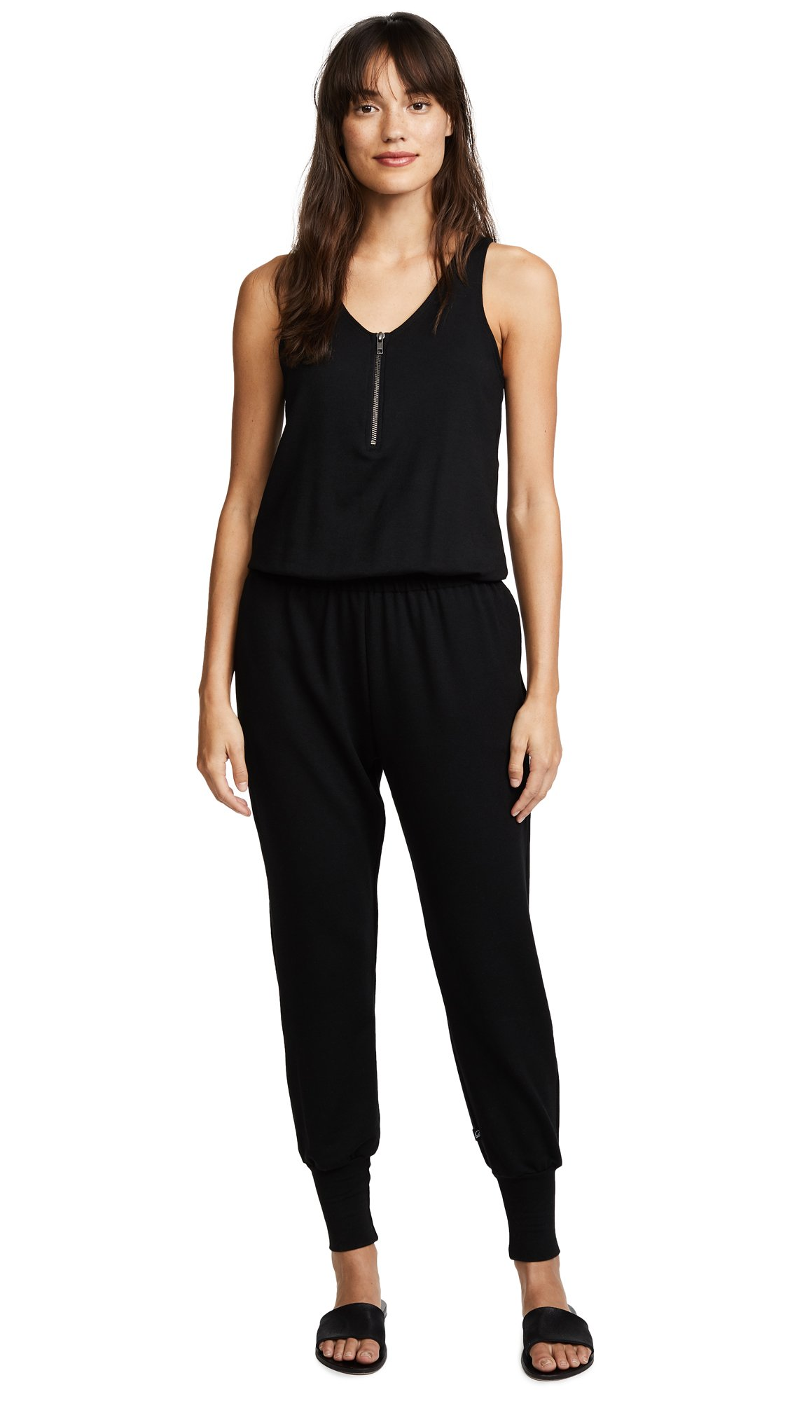 Terez Women's Black Quarter Zip Jumpsuit, Black, Medium