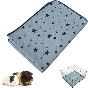 RIOUSSI Guinea Pig Cage Liners, Highly Absorbent Washable Reusable Guinea Pig Fleece Bedding for Midwest and C&C Cages with Waterproof Bottom