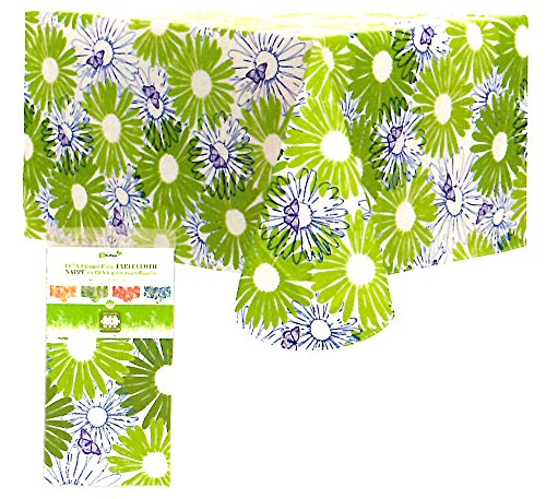 New Summer 2016 - Vinyl Tablecloths Flannel Backed, PEVA, For Indoor or Outdoor, Floral Print with Butterflies, Multiple Colors & Sizes (52 x 70, (New Vinyl Tablecloth)