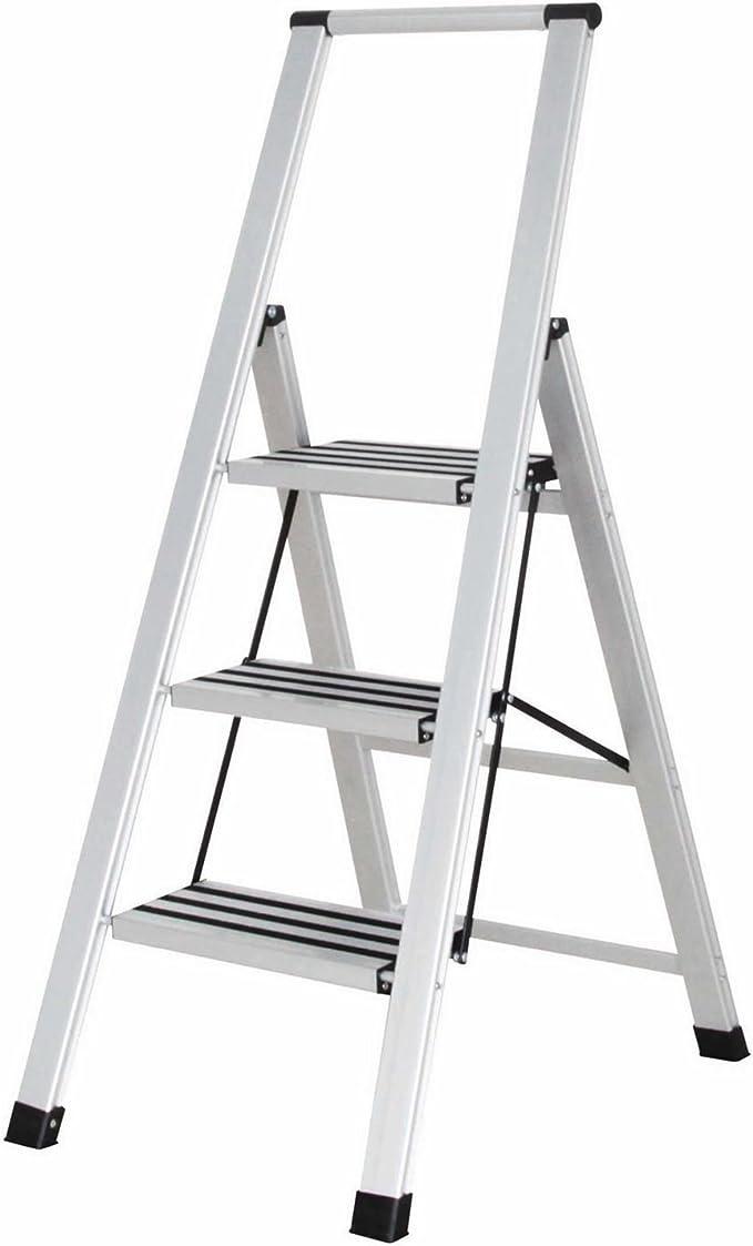 Escalera estrecha Bergman de 3 escalones con barandilla de seguridad antideslizante de aluminio plegable: Amazon.es: Bricolaje y herramientas