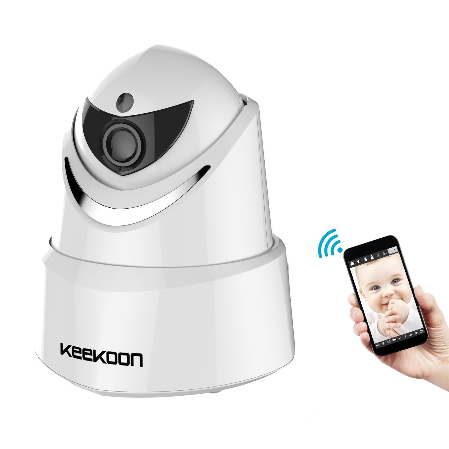 KEEKOON HD 1080P Wireless Wired Wifi IP Camera Baby Monitor with Two Way Talk Pan Tilt Night Vision white