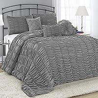 Fashion Street Adella 7-Piece King Comforter Set (Grey)