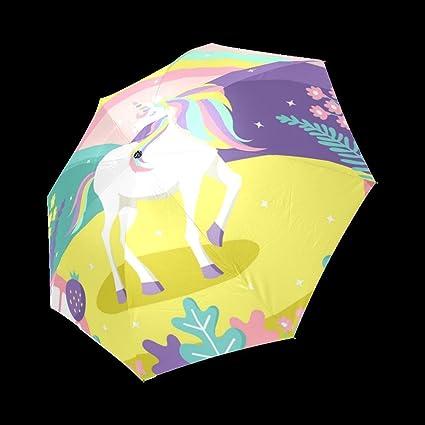 Colorful magic world background with unicorn Design Folding Umbrella Sun Rain Travel Umbrella Anti UV Wind
