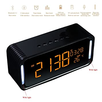 LED Digital Alarma despertador Radio FM Altavoz Bluetooth inalámbrico con Función Snooze/Reloj/Temperatura