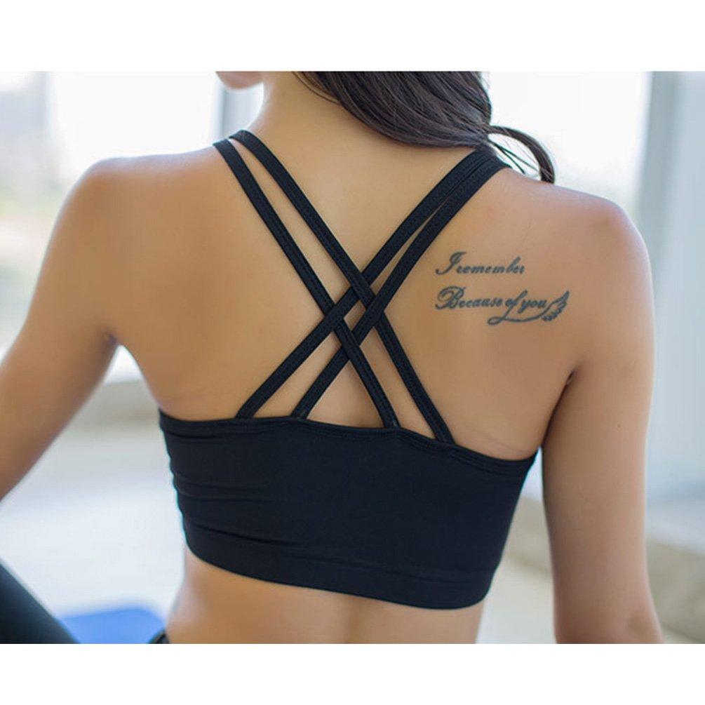 Fitibest Sujetador Deportivo Ropa Interior Cruzado Correr Yoga Bra con Almohadillas Extraíbles para Mujer Chica
