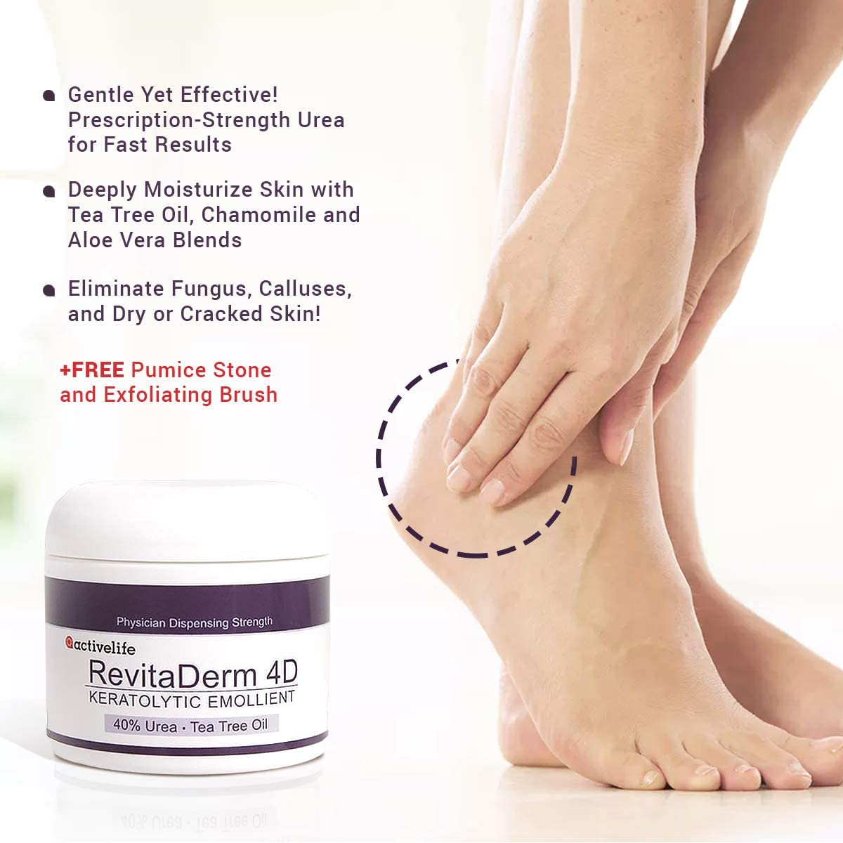 Urea Cream 40 RevitaDerm 4D-Callus and Corn Remover-Moisturizes, Rehydrates Exfoliates Thick, Cracked, Rough, Dead and Dry Skin-Feet, Knees, Elbows, Hands Free Pumice Stone