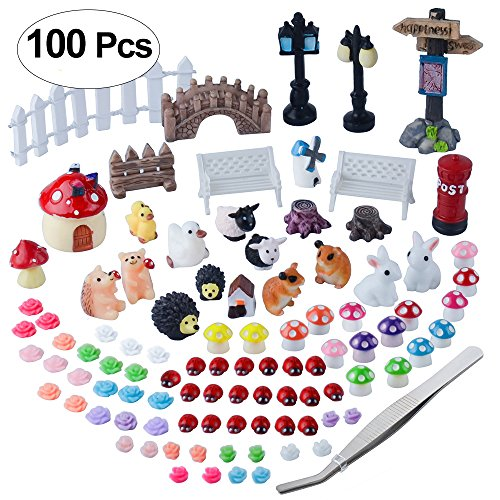 Zealor 100 Pieces Miniature Ornaments Kit DIY Fairy Garden Dollhouse Decoration